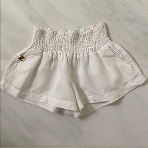 Marciano white linen shorts